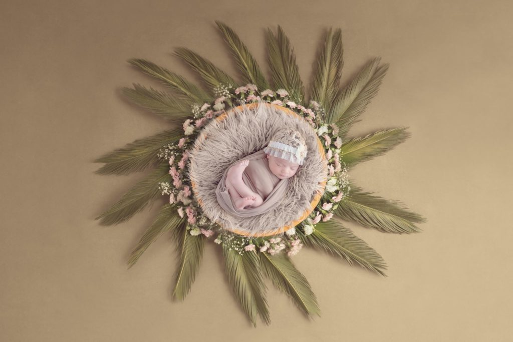 photo artistique bébé nouveau-né lot-et-garonne marmande tonneins virazeil emmailloté fleurs plantes nature bol